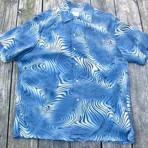 BRIONI Hawaiian Camp Shirt Op Art Zebra Navy Print